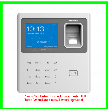 Anviz W1 Color Screen Fingerprint-RFID Time Attendance with Battery optional
