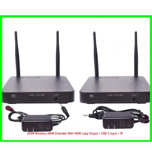 200M Wireless HDMI Extender With HDMI Loop Output + USB C input + IR-08030739425