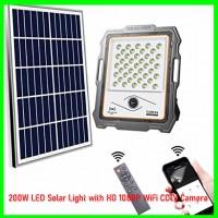 200W LED Solar Light with HD 1080P WiFi CCTV Camera