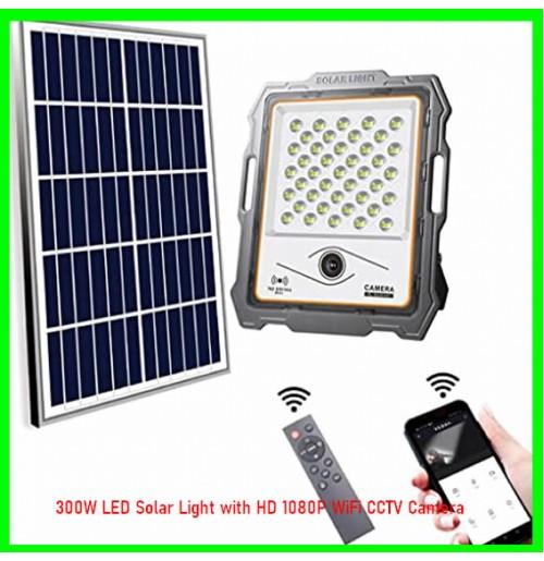 300W LED Solar Light with HD 1080P WiFi CCTV Camera