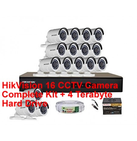HikVision 16 CCTV Camera Complete Kit + 4 Terabyte Hard Drive