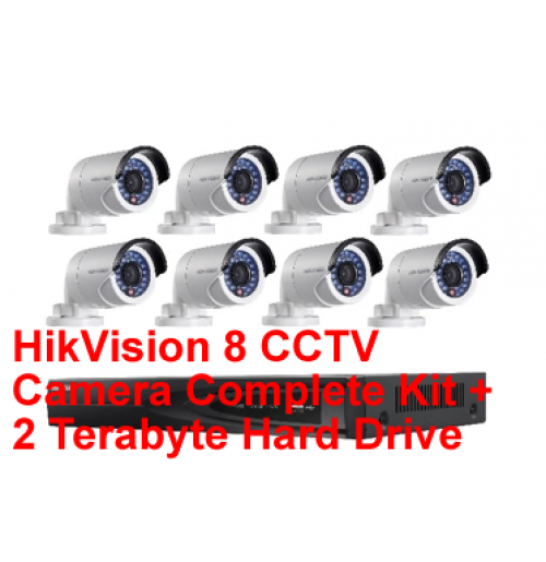 HikVision 8 CCTV Camera Complete Kit + 2 Terabyte Hard Drive