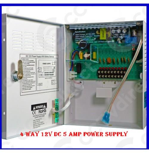 4 Way 12V DC 5 Amp Power Supply