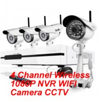 4 Channel Wireless 1080P NVR WIFI Camera CCTV Kit