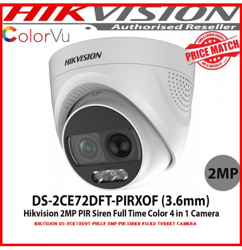 Hikvision DS-2CE72D0T-PIRXF 2MP PIR Siren Fixed Turret Camera