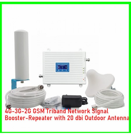 4G/3G/2G GSM Triband Network Signal Booster/Repeater with 20 dbi Outdoor Antenna-08060498353