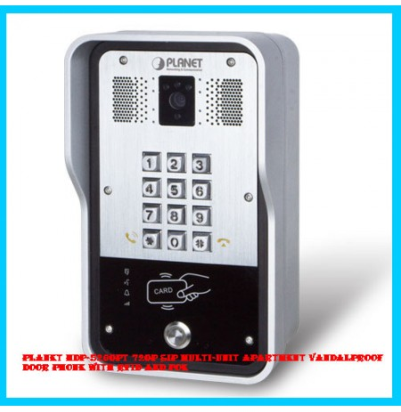 PLANET HDP-5260PT 720p SIP Multi-unit Apartment Vandalproof Door Phone with RFID and PoE