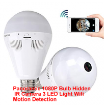 Panoramic 1080P Bulb Hidden IR Camera 3 LED Light Wifi Motion Detection